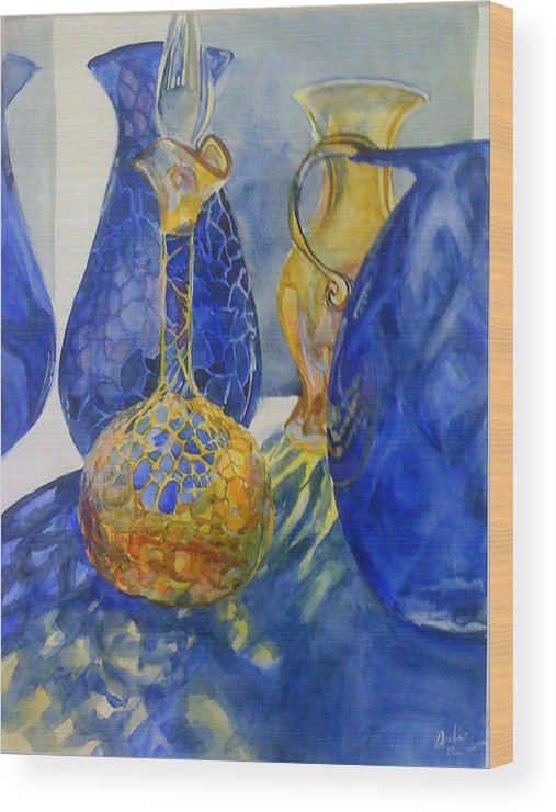 Glass Wood Print featuring the painting Blue Blenko by Julie Morrison