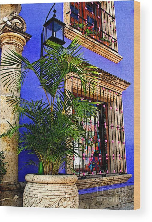 Tlaquepaque Wood Print featuring the photograph Blue Casa With Fern by Mexicolors Art Photography