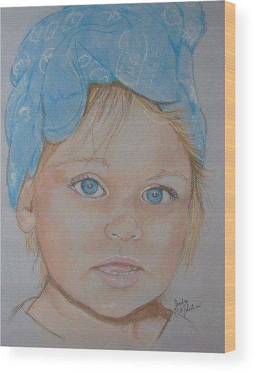 Portrait Wood Print featuring the pastel Blue Eyed Baby In Bandana by Sandra Valentini
