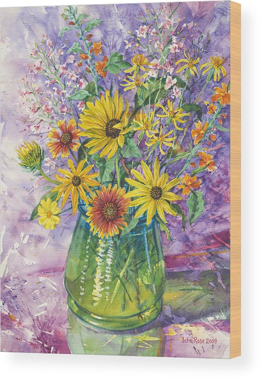 Floral Wood Print featuring the painting Blue-green Vase Of Wildflowers by John Rose