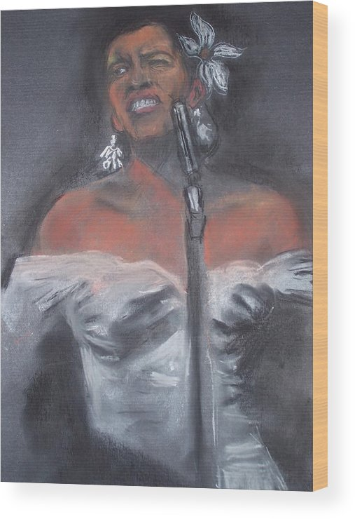 Billie Holliday Wood Print featuring the drawing Blue Lady by Darryl Hines