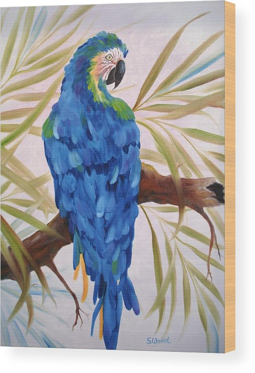 Wild Animal Exotic Bird Blue Macaw Tropical Wood Print featuring the painting Blue Macaw by Sherry Winkler