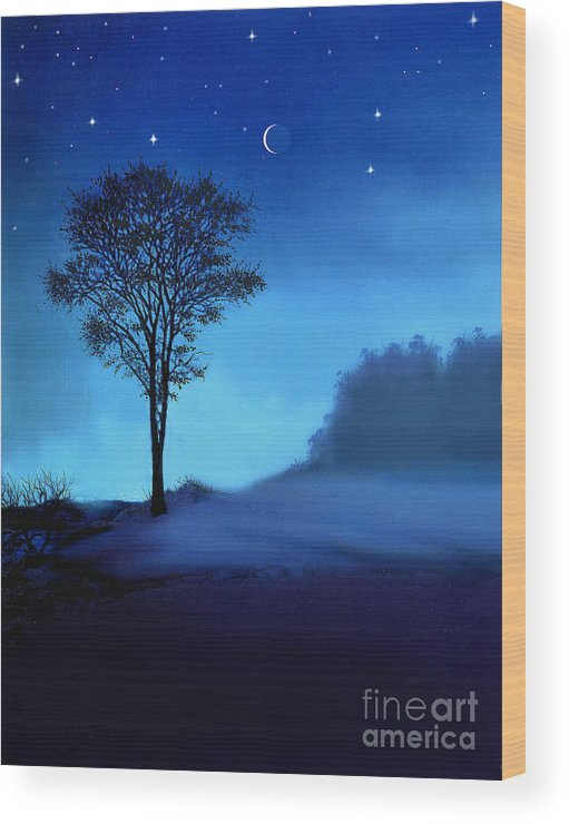 Landscape Wood Print featuring the painting Blue Moon by Robert Foster