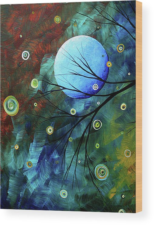 Art Wood Print featuring the painting Blue Sapphire 1 By Madart by Megan Duncanson