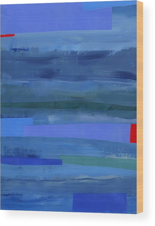 Abstract Art Wood Print featuring the painting Blue Stripes 1 by Jane Davies