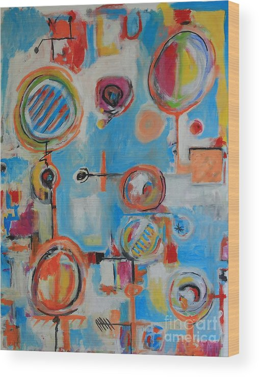 Abstract Wood Print featuring the painting Blue System by Michael Henderson