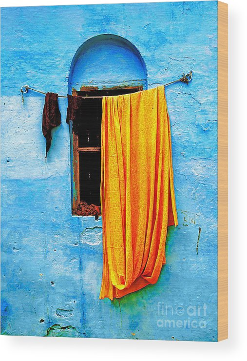 Wall Wood Print featuring the photograph Blue Wall With Orange Sari by Derek Selander
