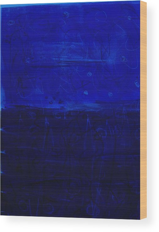 Blue Abstract Wood Print featuring the painting Blue X And O by Susan Grissom