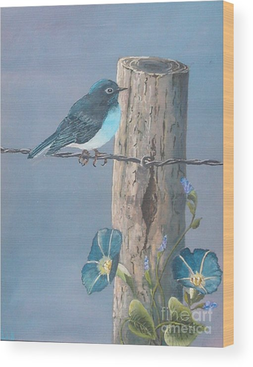 Bluebird Wood Print featuring the painting Bluebird by John Wise
