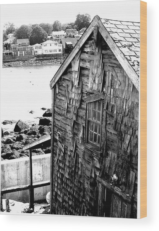 Wood Print featuring the digital art Boat House by Donna Thomas