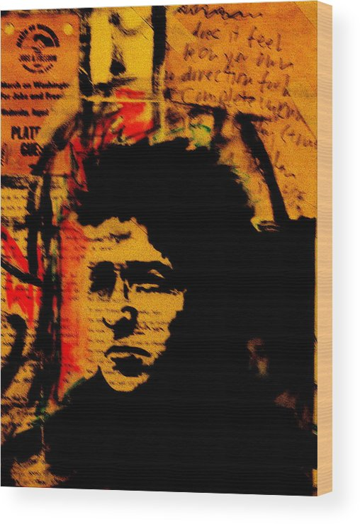 Portraits/collage/paintings Wood Print featuring the painting Bob Dylan by Jeff DOttavio