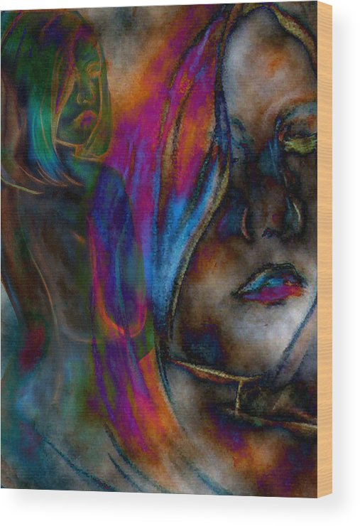 Faces Anatomy Body People Faces Colors Colorful Wood Print featuring the digital art Body And Mind by Lisa Stanley
