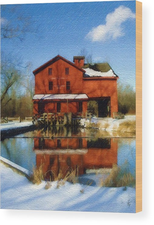 Bonneyville Mill Wood Print featuring the photograph Bonneyville In Winter by Sandy MacGowan
