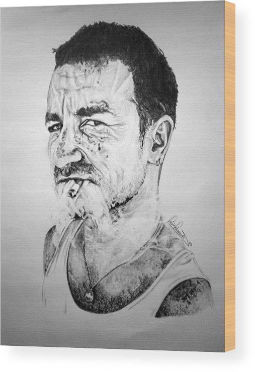 Celeb Portraits Wood Print featuring the drawing Bono by Sean Leonard