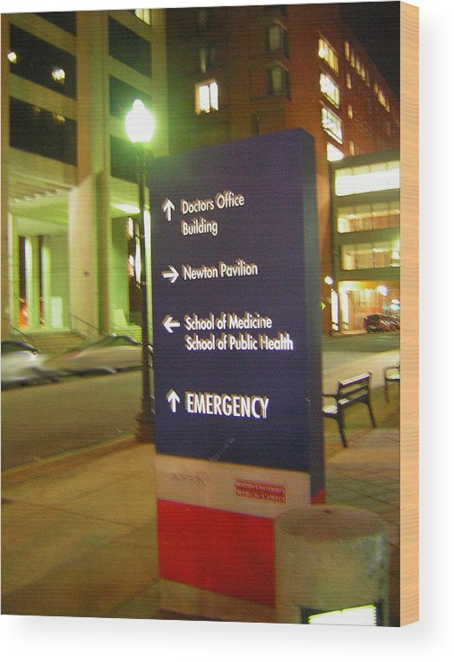 Boston Medical Center. Hospital Wood Print featuring the photograph Boston Medical At Night by Heather Weikel