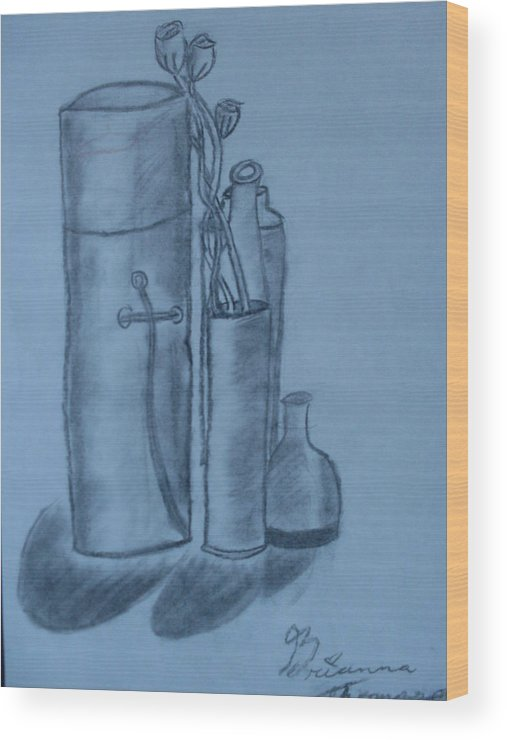 Charcoal Bottles Still Life Wood Print featuring the drawing Bottles And Shadows by Brianna Emily Thompson