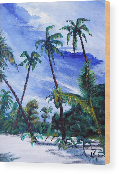 Palms Sky Blue Wood Print featuring the painting Breezy Blue Skies by Jim Phillips