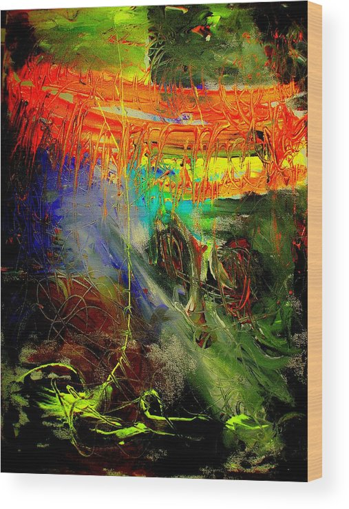 Abstract Prinst Wood Print featuring the painting Bridge To Heaven by Teo Santa