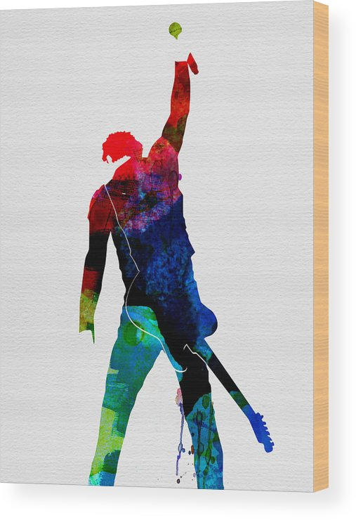 Bruce Springsteen Wood Print featuring the painting Bruce Watercolor by Naxart Studio