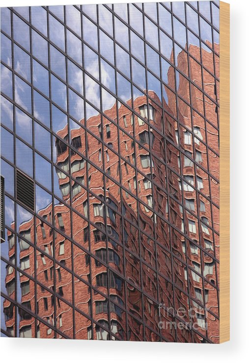 Abstract Wood Print featuring the photograph Building Reflection by Tony Cordoza