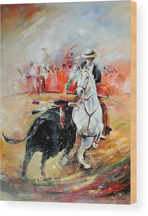 Toros Wood Print featuring the painting Bullfight 3 by Miki De Goodaboom