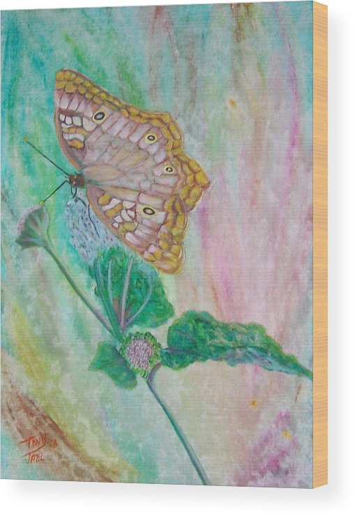 Butterfly Wood Print featuring the painting Butterfly by Tony Rodriguez