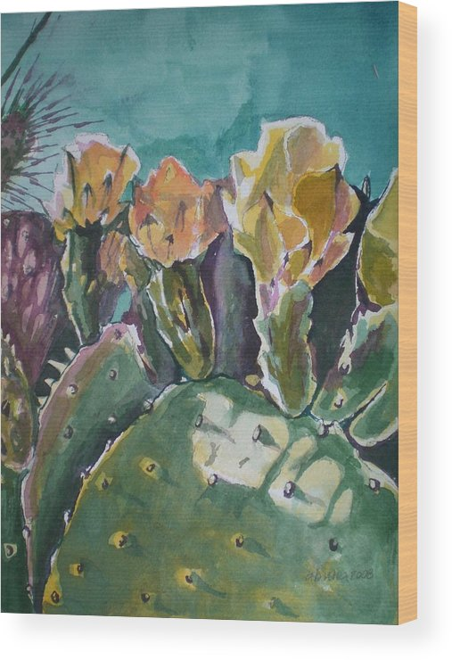 Desert Wood Print featuring the painting Cactus Blossoms In Desert by Aleksandra Buha