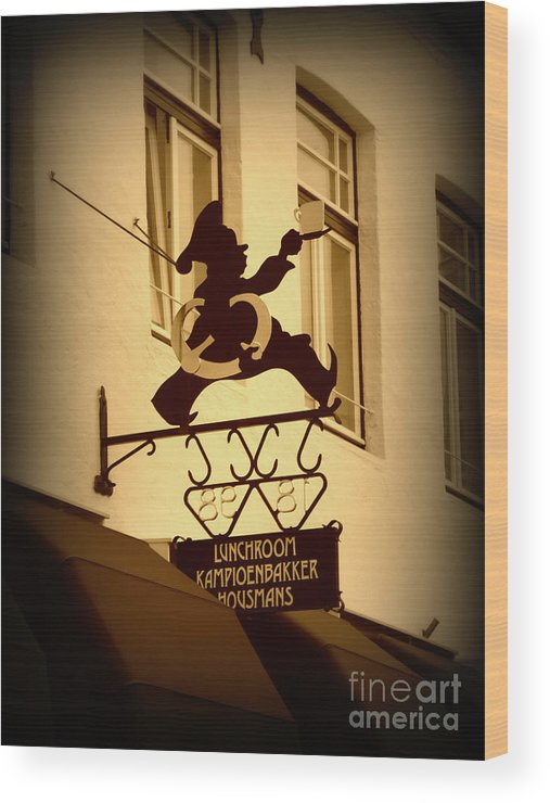 Sign Wood Print featuring the photograph Cafe Sign In Holland by Carol Groenen
