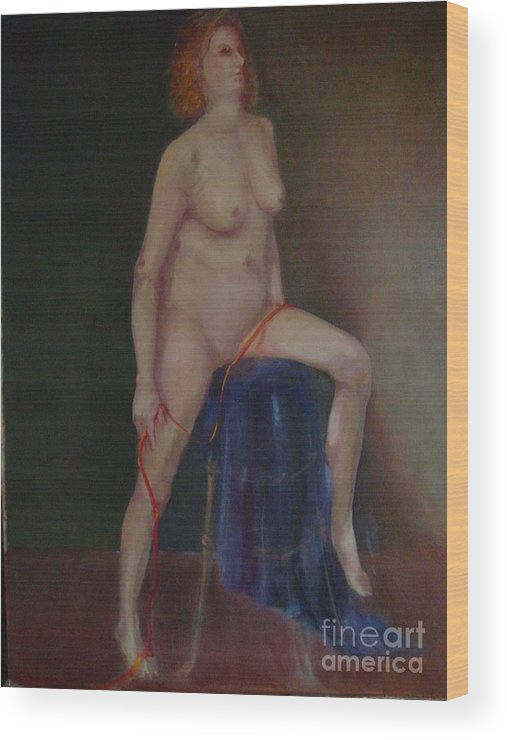 Figure Wood Print featuring the painting Caitlin Copyrighted  by Kathleen Hoekstra