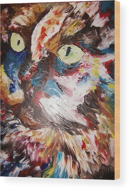 Painting.oil.acrylic Wood Print featuring the painting Calico Cat by Adeniyi Peter