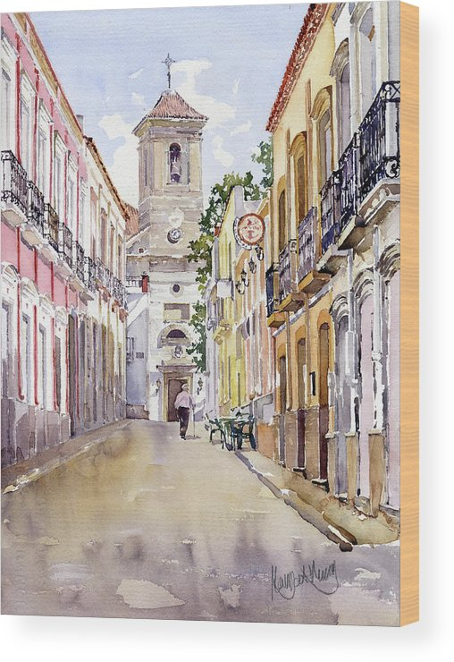 Alhabia Wood Print featuring the painting Calle Fuente Alhabia by Margaret Merry