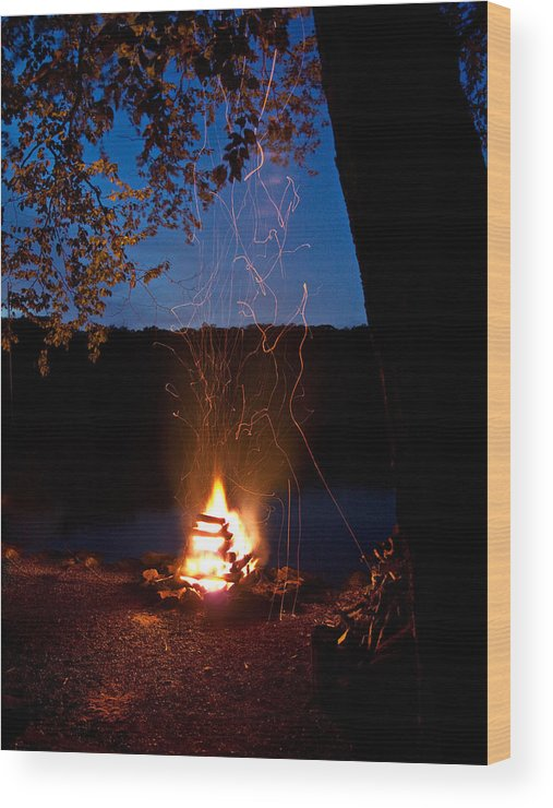 Campfire Wood Print featuring the photograph Campfire At Dusk by Jim DeLillo