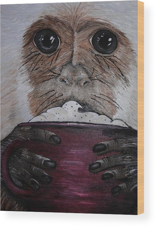 Capuchin Wood Print featuring the painting Capuchino by Sharon Supplee