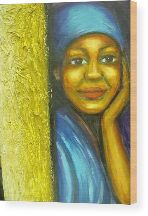 Wood Print featuring the painting Caribbean Mystery Lady by Jan Gilmore