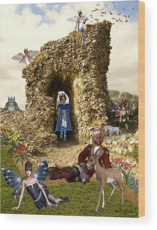 Fairies Wood Print featuring the digital art Castle Acre Fairy Land by Morning Dew