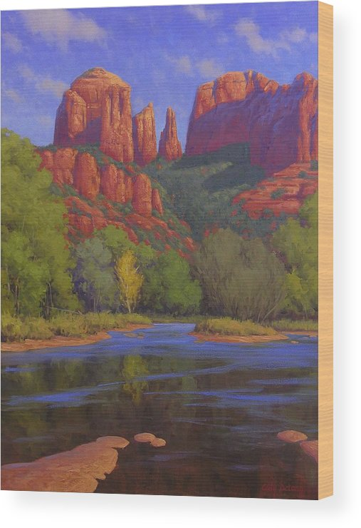 Sedona Wood Print featuring the painting Cathedral Morning by Cody DeLong
