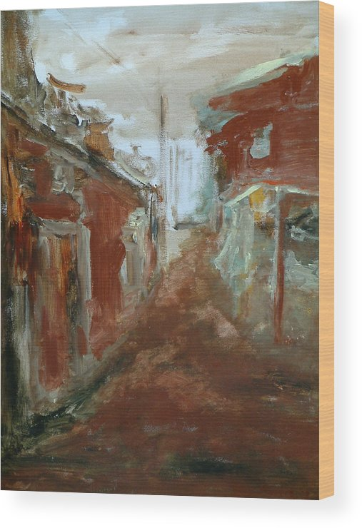 Female Art Wood Print featuring the painting Ceder Town by Rome Matikonyte