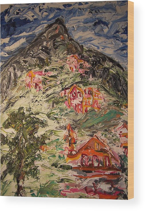 Cezane Wood Print featuring the painting Cezing At Mt. St Victoire by Ira Stark