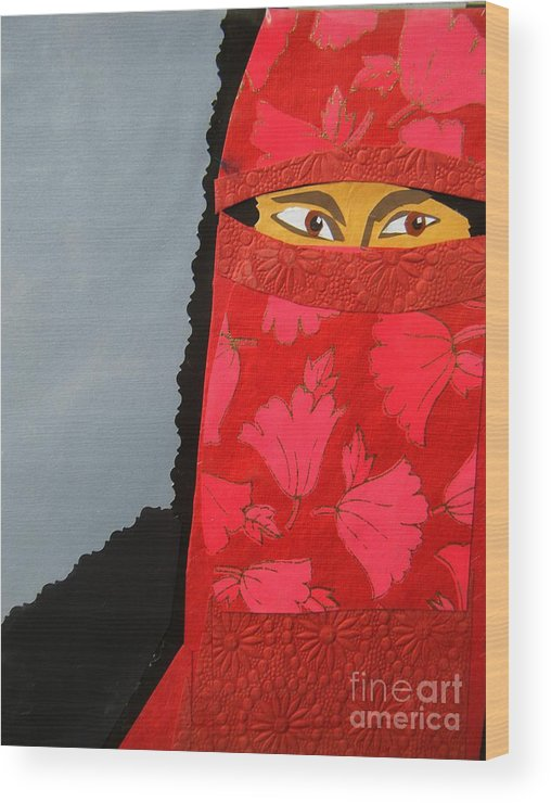 Woman Wood Print featuring the mixed media Chador by Debra Bretton Robinson