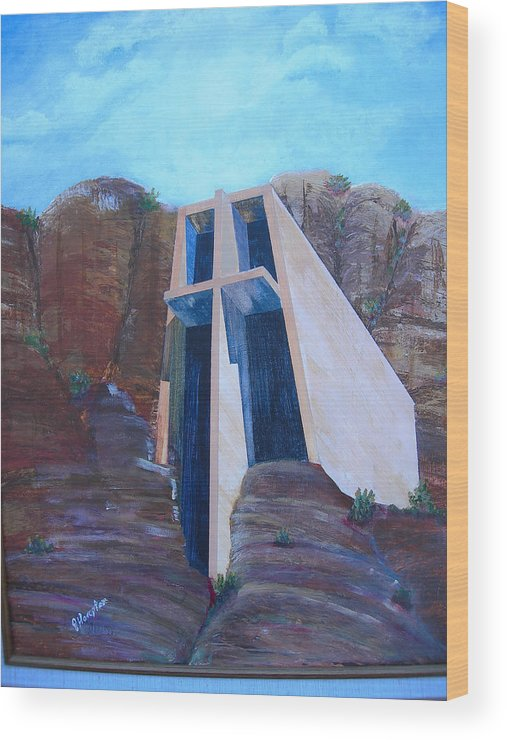 Landscape Wood Print featuring the painting Chapel In The Mountains by Jack Hampton