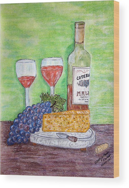Cheese Wood Print featuring the painting Cheese Wine And Grapes by Kathy Marrs Chandler