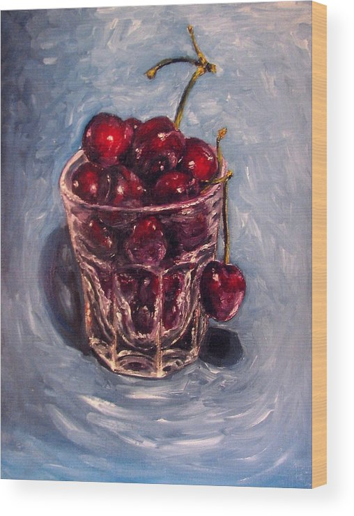 Red Wood Print featuring the painting Cherries Original Oil Painting by Natalja Picugina