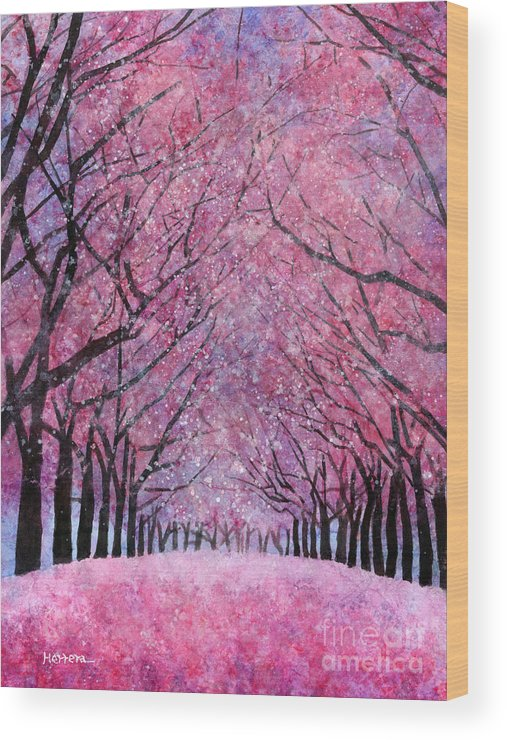 Cherry Blossom Wood Print featuring the painting Cherry Blast by Hailey E Herrera