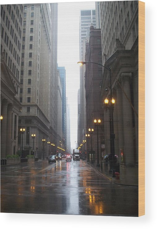 Chicago Wood Print featuring the photograph Chicago In The Rain 2 by Anita Burgermeister