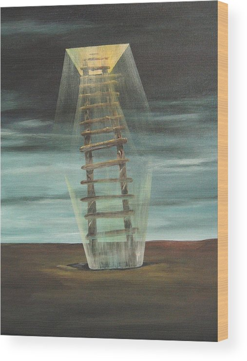 Surrealism Wood Print featuring the painting Chickasaw's Ladder by K Hoover