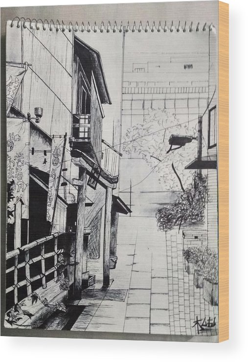 A Street View Of An Tea Shop. Wood Print featuring the drawing China Awaken by Abhishek Chaurasia