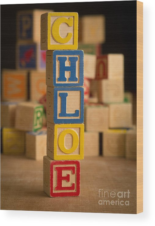 Alphabet Wood Print featuring the photograph Chloe - Alphabet Blocks by Edward Fielding