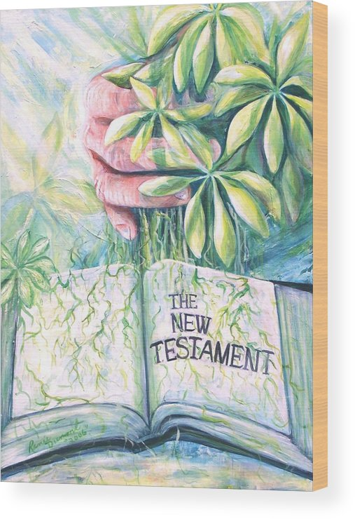 Contemporary Wood Print featuring the painting Christian Artist Rooted In The Word by Renee Dumont Museum Quality Oil Paintings Dumont