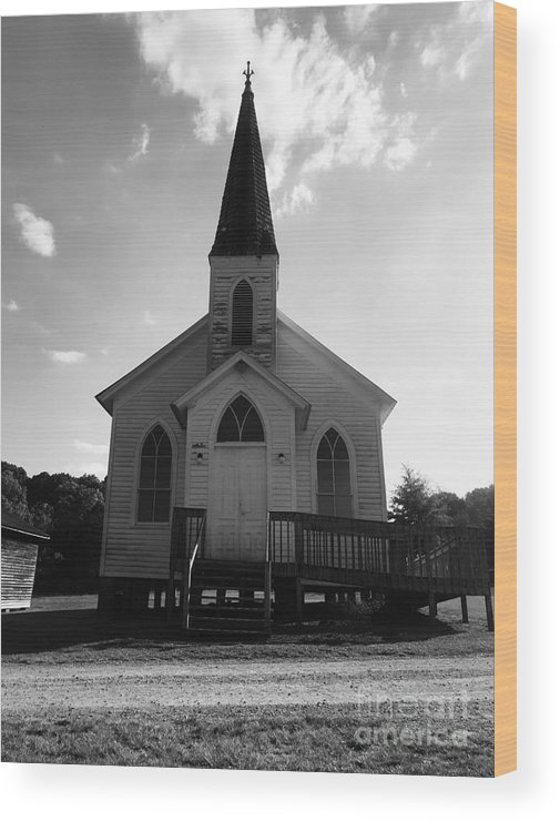 Black And White Wood Print featuring the photograph Church by Olga Burt