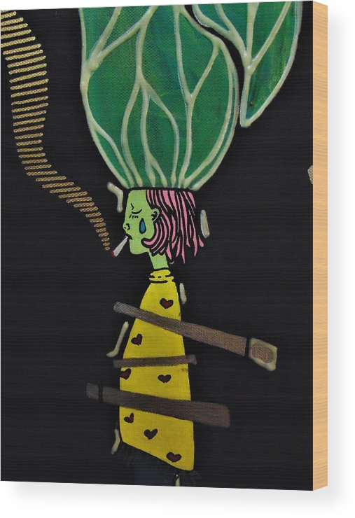 Cigs Wood Print featuring the painting Cigs And Thoughts by Kayanna South